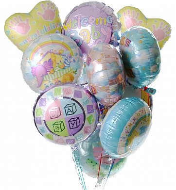 Balloons: New Baby Balloon Bouquet-12 Mylar