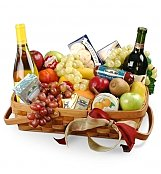 Wine & Fruit Baskets: Still in Love Gourmet Fruit Basket with Wine