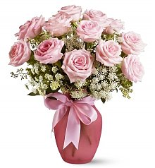 Roses: Pink Dozen Roses and Lace